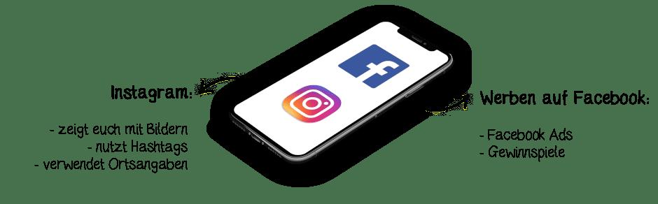 Mit sozialen Netzwerken wie Facebook und Instagram die Auffindbarkeit online steigern und damit mit Kunden und Interessenten kommunizieren.
