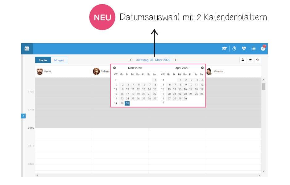 Verbesserte Datumsauswahl im Terminbuch möglich.