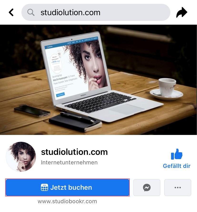 """Konfuguriert den Button auf Facebook zu einem """"Jetzt-buchen""""-Button, um euren studiobookr-Link einzubauen."""