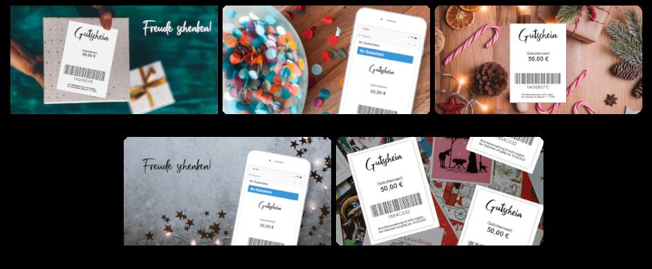 Wir haben zur Vermarktung der Online Gutscheine 5 Designs, die ihr herunterladen könnt.