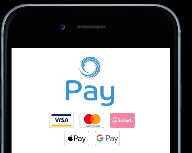 Mit studiolution Pay Kunden bequem zahlen lassen und aus einer von fünf Zahlungsmethoden, wie Visa, Mastercard, Sofortüberweisung, Apple Pay oder Google Pay zahlen lassen.