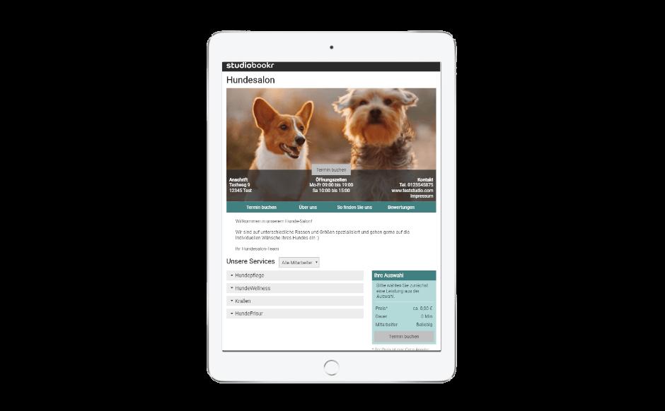 Kunden können Termine im Hunde-Salon ganz einfach online buchen.