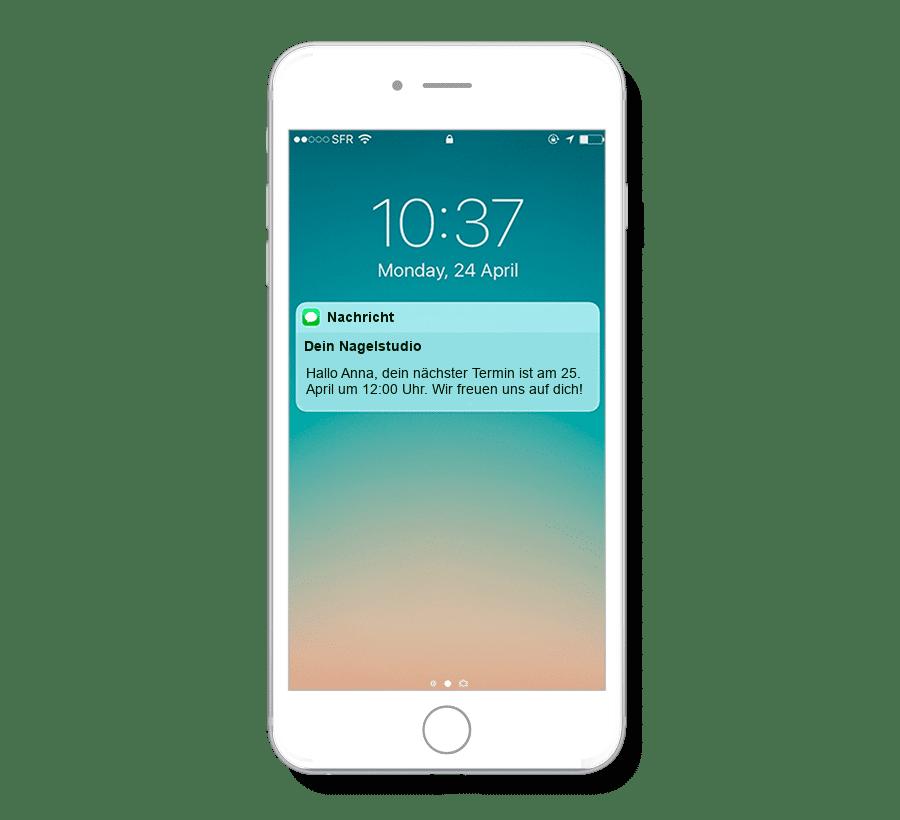 Terminerinnerungen per SMS stellen sicher, dass Kunden eures Nagel-Studios keine Termine mehr vergessen.