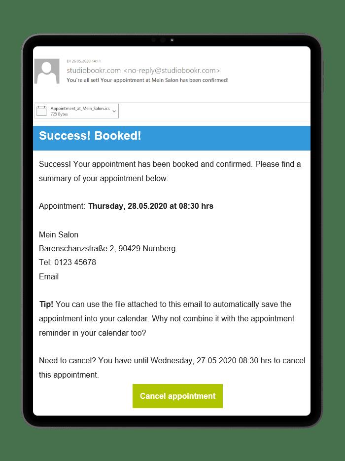 Und die Bestätigungsemail erhalten eure Kunden auch auf Englisch.