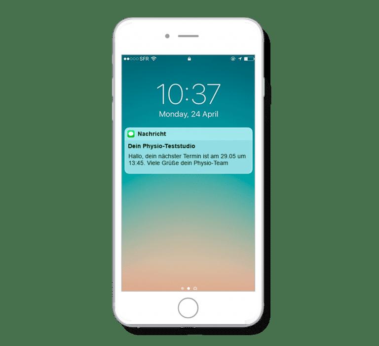 Das Terminsystem kann automatisierte Terminerinnerungen per SMS an Kunden von Physiotherapeuten verschicken.