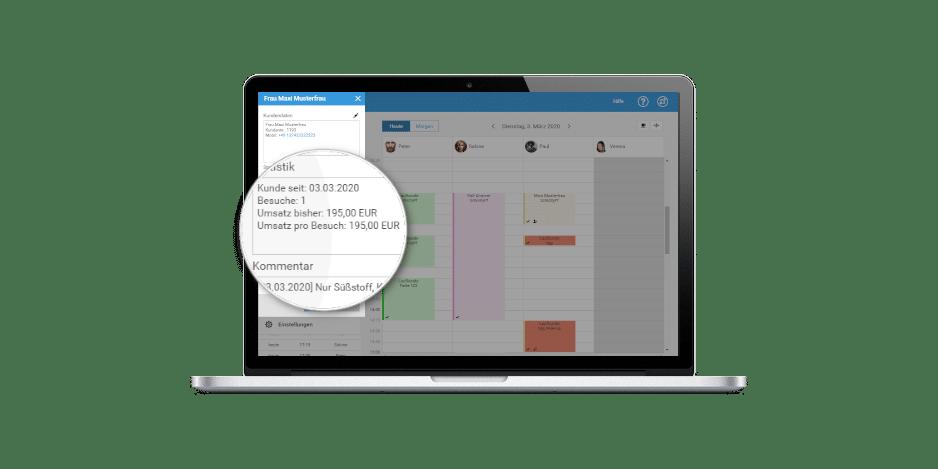 Mit dem digitalem Terminbuch von studiolution hat man alles auf einem Blick: Termine, Kunden uvm.